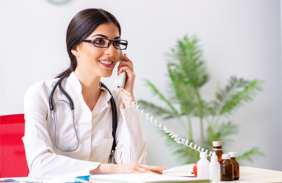 Doctor providing medical consultation over phone