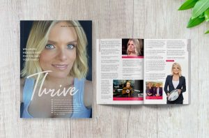 Thrive Magazine - Issue 3 displaying front cover and feature story
